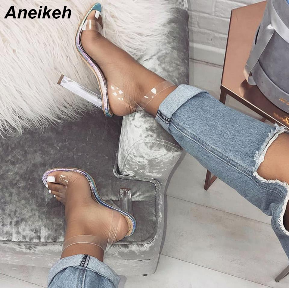 Aneikeh, verano 2019, sandalias de PVC para mujer maduras, punta redonda transparente, cristal transparente, cuadrado, tacón alto, hebilla, correa de boda, plateado-azul