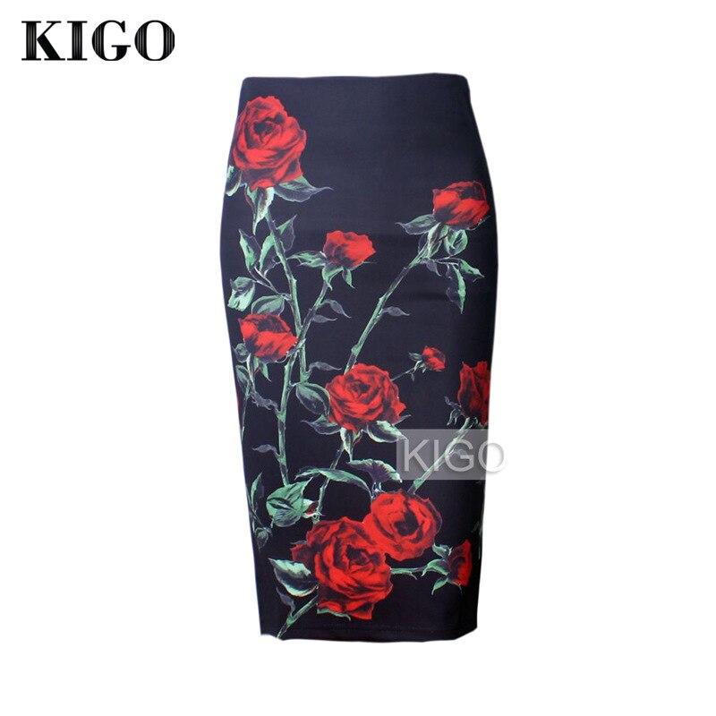 KIGO la impresión de la flor de las mujeres falda lápiz de cintura alta Slim Bodycon Midi falda dividido de nuevo las mujeres falda Casual Jupe Femme KH1064H