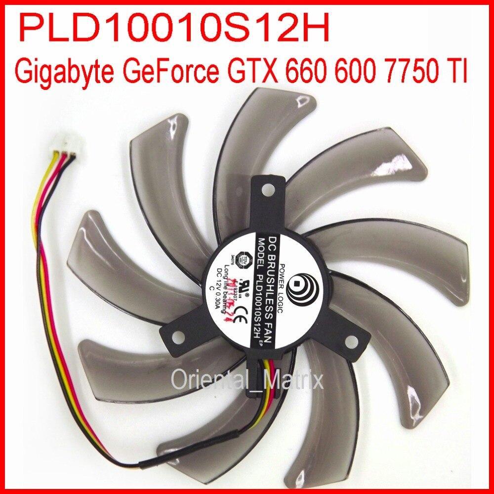 PLD10010S12H 12V 0.30A 95 milímetros Fã VGA Para Gigabyte GeForce GTX 660 600 7750 TI Placa Gráfica Ventilador de Refrigeração 3Pin