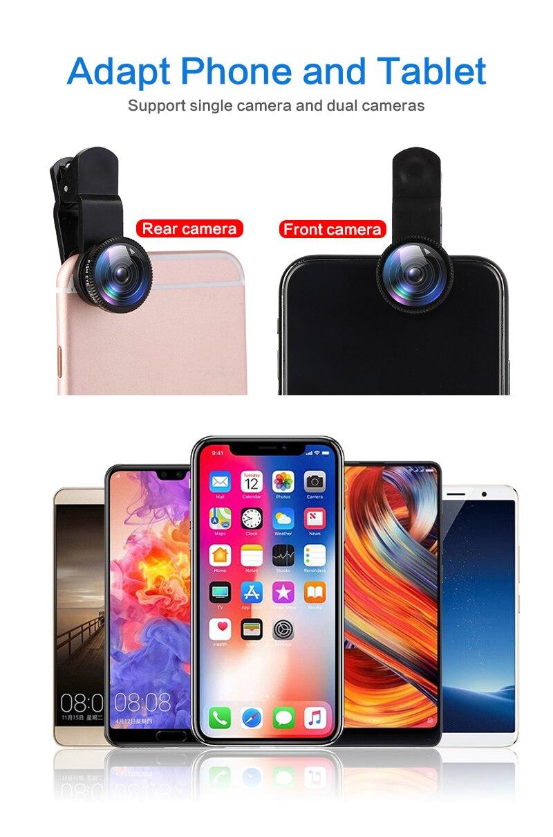 Fisheye Lens 3 In 1 Lenses Mobile Phone Clip Lens Wide Angle 0.67X Lens Macro Lens 10 Time Macro for
