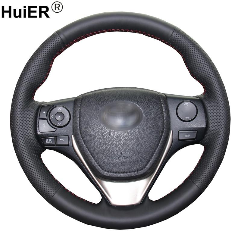 HuiER cose a mano protector para volante de coche de cuero negro para Toyota RAV4 2013-2018 Corolla 2014-2018 Auris 2013-2016 Scion iM 2016