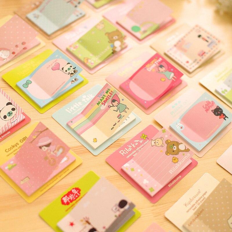 Lindo Kawaii coreano planificador álbum de recortes diario pegatina notas adhesivas y Bloc de notas papelería en Notebook suministros de oficina