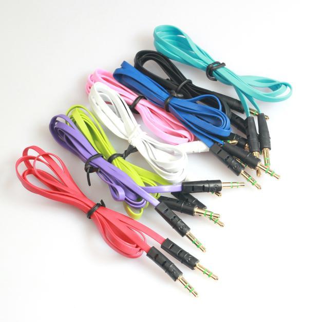 Venta al por mayor, Cable auxiliar de Audio de 3,5mm, Cable auxiliar plano macho a macho, 1m, alta calidad, # ES