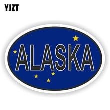 YJZT 14.2CM*9.5CM ALASKA STATE Flag Oval Decal Window Car Sticker Accessories 6-1580