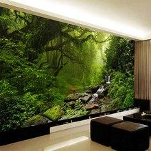 Papier peint Mural auto-adhésif en toile imperméable   Papier peint 3D Mural, personnalisé, forêt verte, paysage, Photo, salon, maison