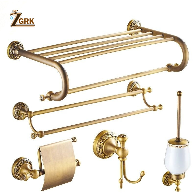 Zgrk todo o cobre escovado banheiro série europeu moderno anel de toalha suporte papel higiênico titular copo robe gancho do banheiro ferragem