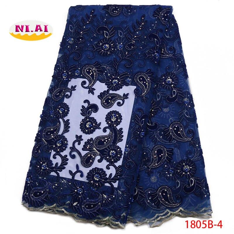 Tecido de renda africano 2018 alta qualidade laço azul real francês tule bordado laço fita aparas para costura NA1805B-2