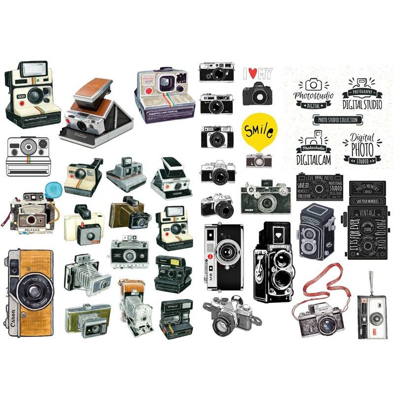 1 piezas Retro antiguo cámara foto decoración Cosas Kawaii precortado pegatinas Scrapbooking papelería, cinta de Washi de la escuela suministros