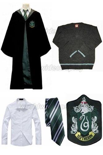 Free Shipping Harry Slytherin Draco Malfoy Cosplay Robe Cloak Pullover Sweater Shirt Necktie Badge Custom made