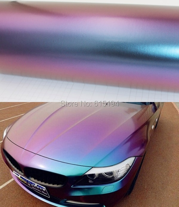 152 3D Smooth Chameleon Color Car Carbon Fiber Vinyl Film vinyl wrap Sticker Change Body Protection Purple become Blue Covers