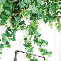 fireproof artificial leaves plastic plants vine wall hanging silk fake leaf green ivy flower bouquet home backdrop garden decor