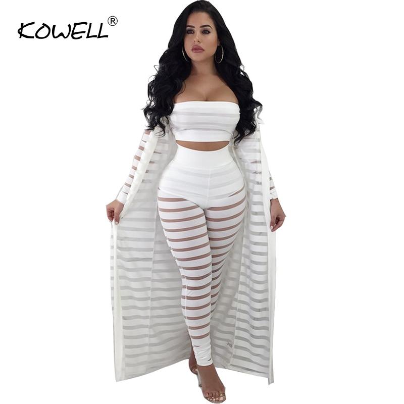 Hot sale stripe white transparent jumpsuits rompers Three-piece suit cardigan playsuit Bodycon jumpsuit women winter overalls