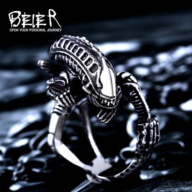 Beier 316L Stainless Steel  Alien Predator Finger Rings For Men alien Predator high quality jewelry LLBR8-358R