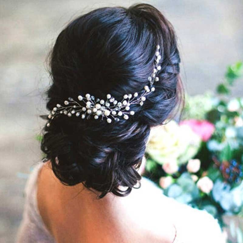 Peines de flores hechos a mano para el cabello con perlas, joyería de Color plateado para novia, Tiaras, joyería para novia, peineta, accesorios para el cabello de boda