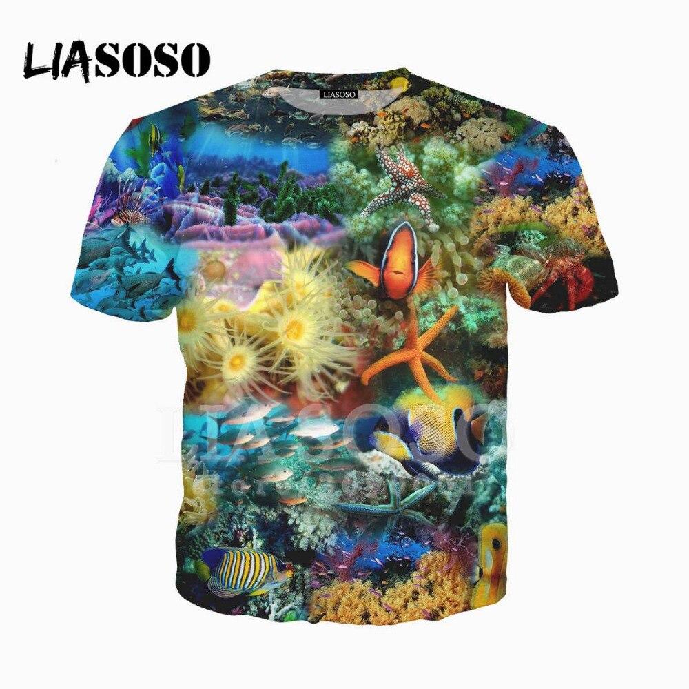 Camiseta con estampado LIASOSO 3D de pez espada en el océano de Coral Harajuku X1519