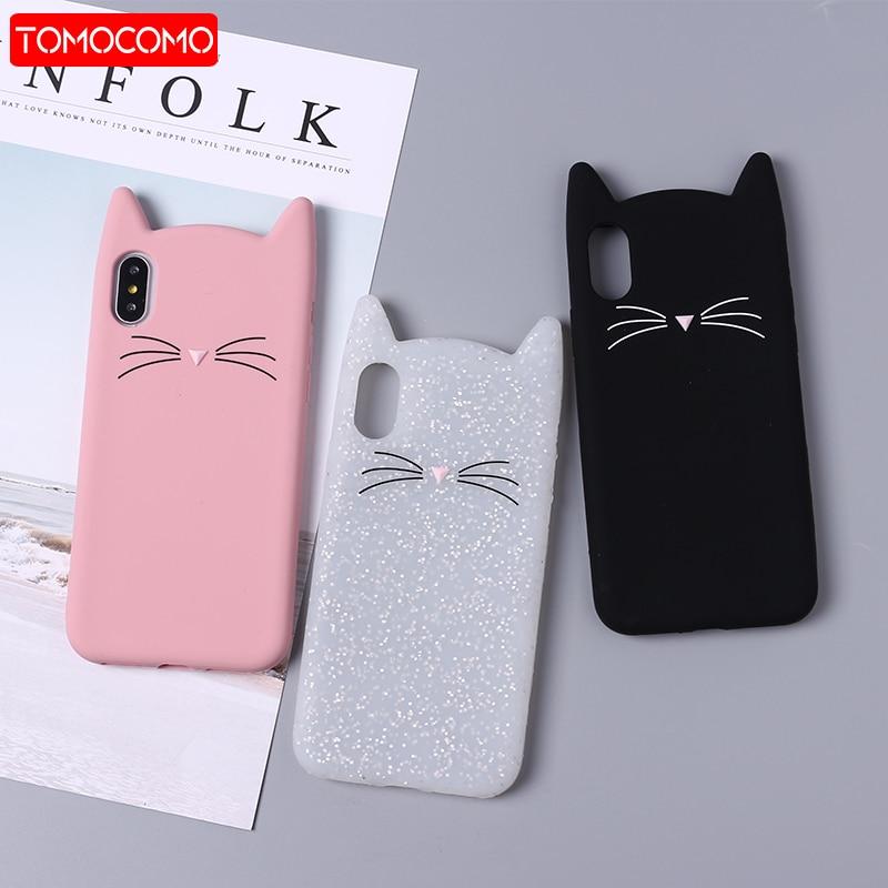 Funda de teléfono TOMOCOMO bonita 3D de silicona con Gato de dibujos animados Rosa negro suave para iPhone 7 7Plus 6 6S 5S SE X XS Max