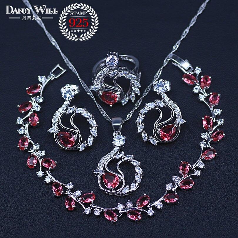 Vier Stück Silber Farbe Frauen Hochzeit Schmuck Sets Rose Rot Granat Ring Größe 6/7/8/9/10 Armband Länge 18CM + 3CM