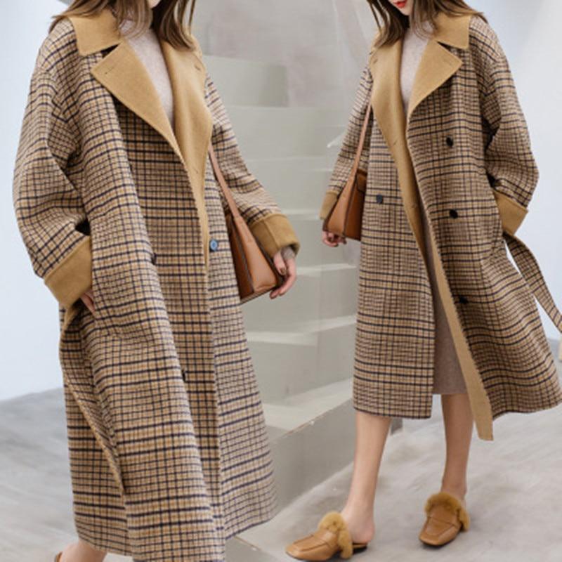 Neue Europa Stil Winter Wolle Mantel Frauen Große Größe Langarm Hepburn Herbst Lose Lange Woolen Mantel Outwear Casaco Feminino