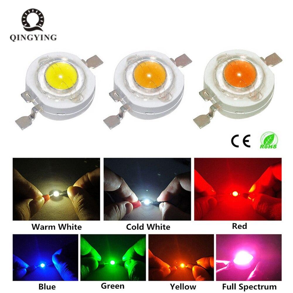 10 Uds. 1W LED 3W Chip de alta potencia LED cuentas de luz blanco frío cálido blanco rojo verde azul amarillo para foco bombilla de luz descendente
