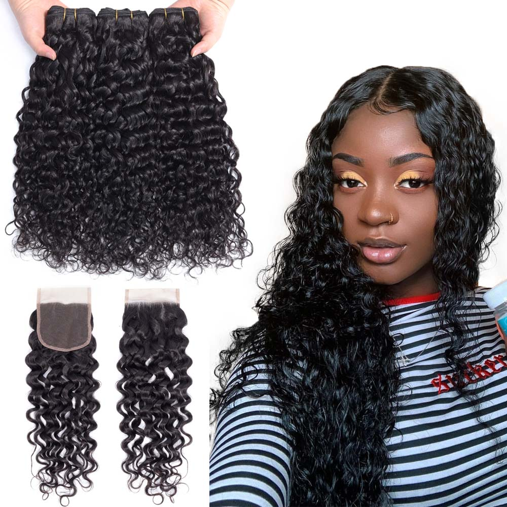 Water Wave Bundles With Closure 4 pc/lot Burmese Hair Weave Bundles With Closure Remy Human Hair Chic Crown Water Wave Hair