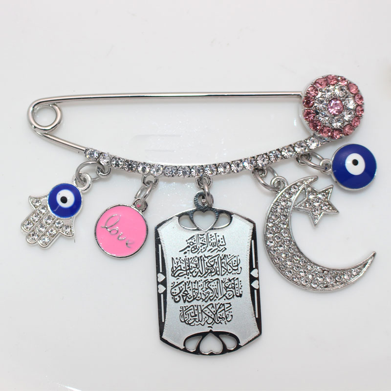 Islam Quran Vanyakad turco mal ojo hamsa mano de Fátima Luna persa Luna amuleto estrella broche bebé pin