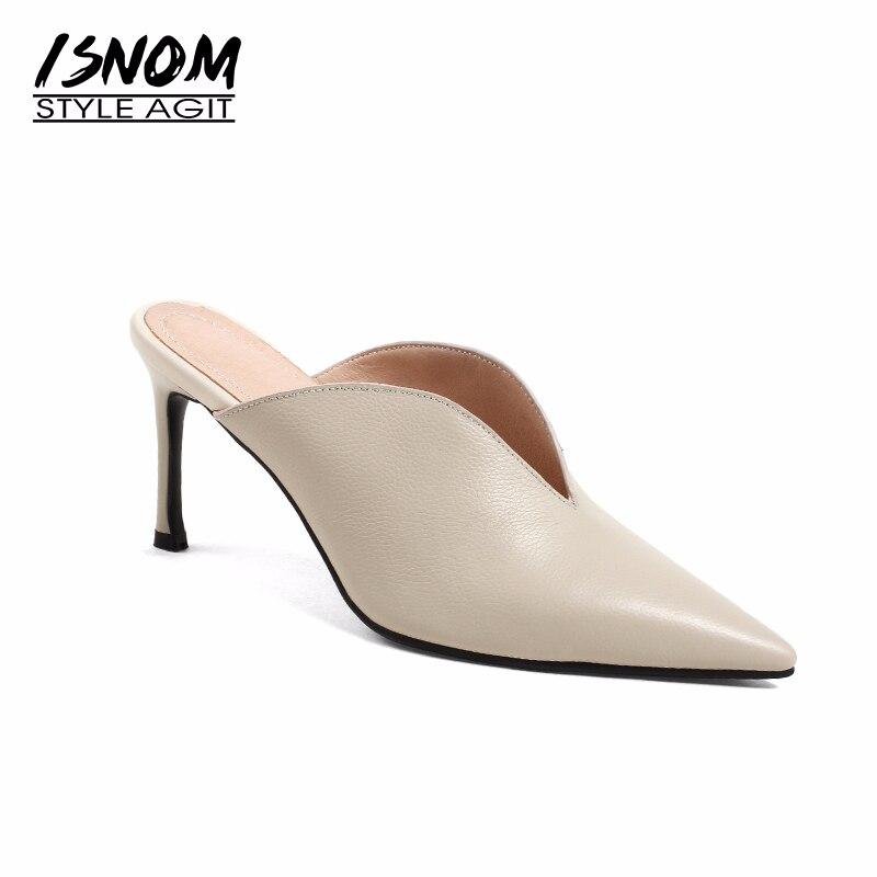 ISNOM Sheep Leather High Heels Women Slipper Pointed Toe Thin Heels Buckle Footwear Summer Fashion 2019 Brand Ladies Mules Shoes