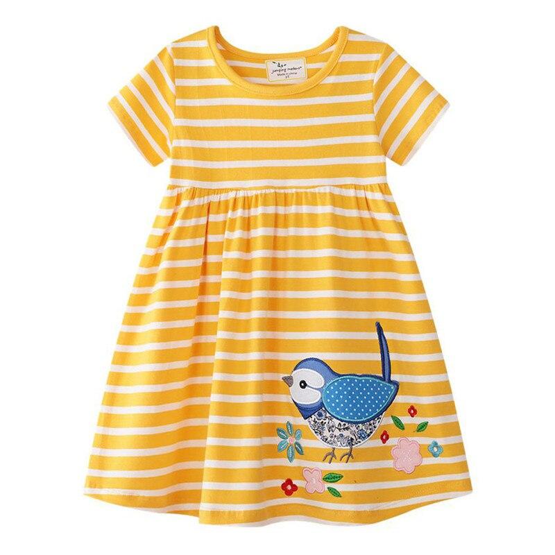 Платье для девочек летнее платье с короткими рукавами и рисунком для маленьких девочек, детская одежда новое модное платье принцессы с изображением птиц и Единорогов