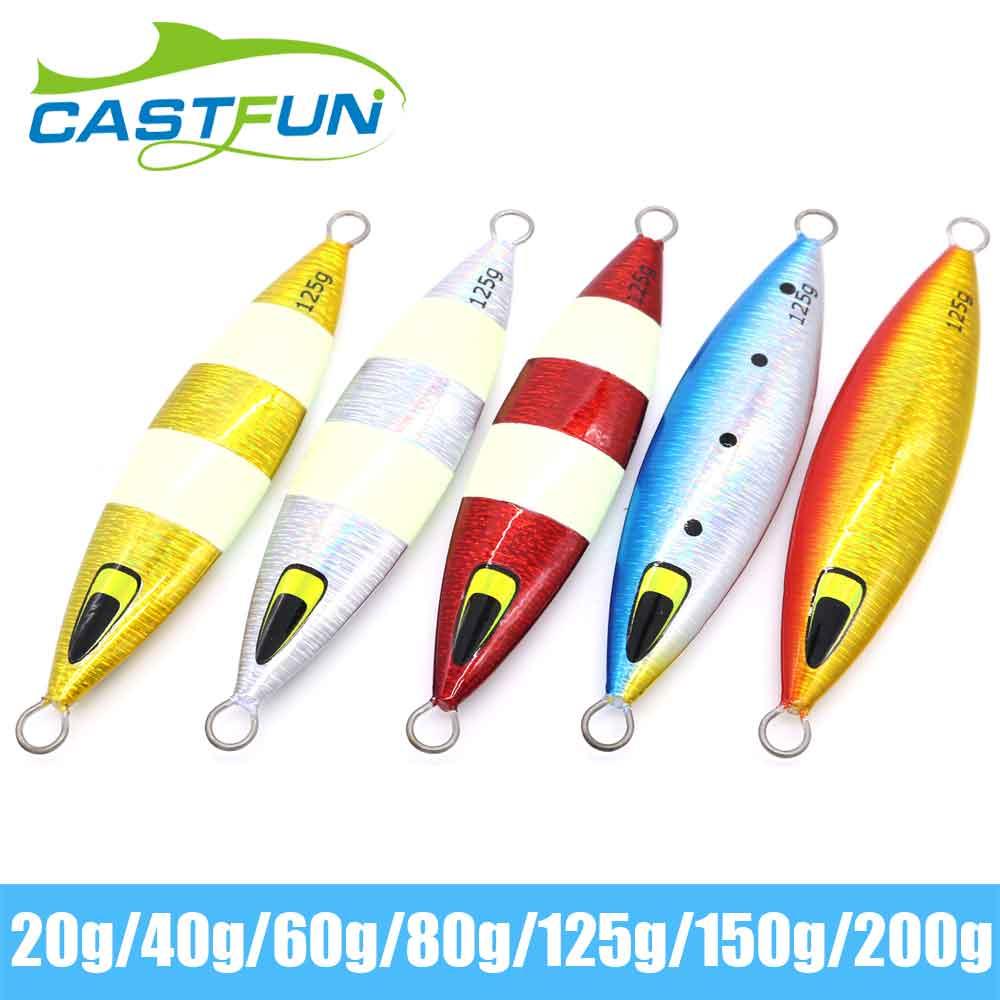 CASTFUN Slow Jig Casting Jig Bait Lures 5pcs/lot Jigging Lure Metal Jigging Glow Lures Artificial Bait 125G 150G 200G