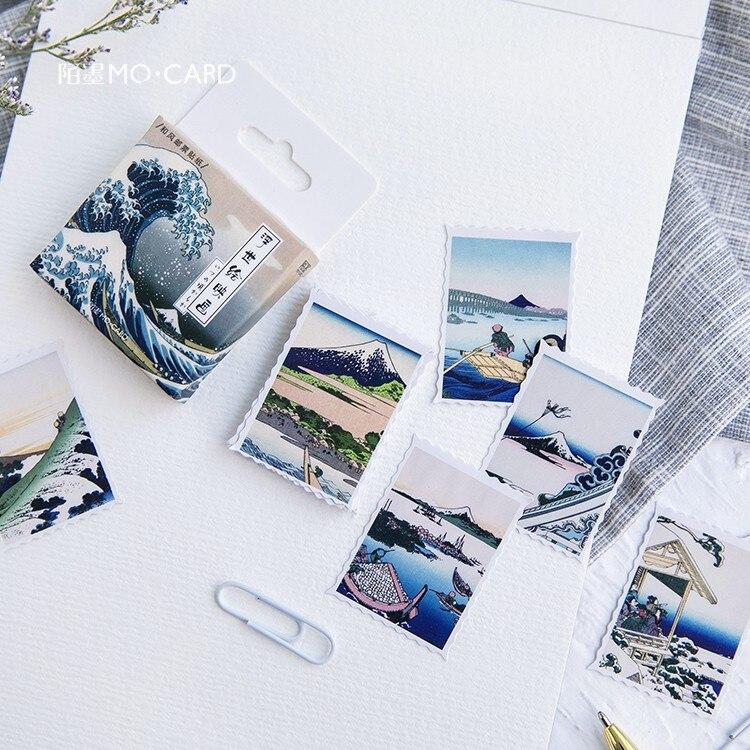 45 unids/pack pintura japonesa serie ukiyo-e pegatina de papel para decoración manual DIY pegatina álbum diario etiqueta adhesiva