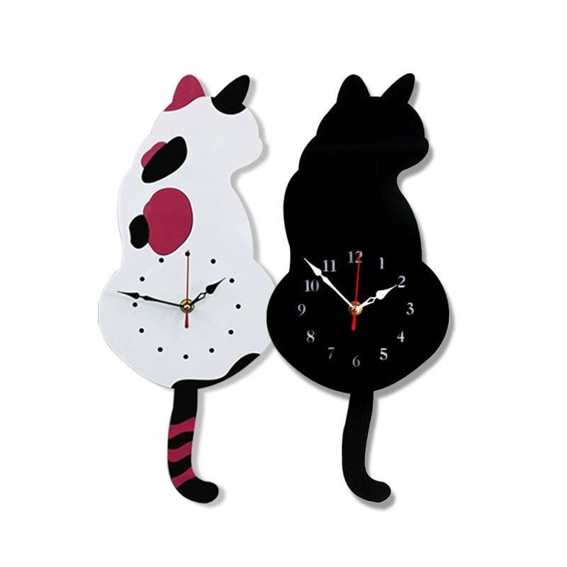 Reloj de pared creativo lindo Blanco/negro con cola de gato para el hogar decorativo niños cumpleaños regalo decoración de dormitorio