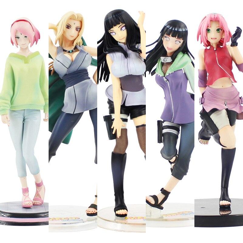 19cm/21cm 5 estilo anime Naruto Shippuden-dibujos Hokage Tsunade Hinata Sakura PVC figura de juguete de modelos coleccionables