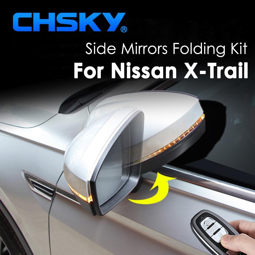 Chsky kit de espelho lateral para carro, kit dobrável de espelho lateral para nissan xtrail x trail x-trail t32, espelho dobrável e traseiro espelho dobrável estilo do carro