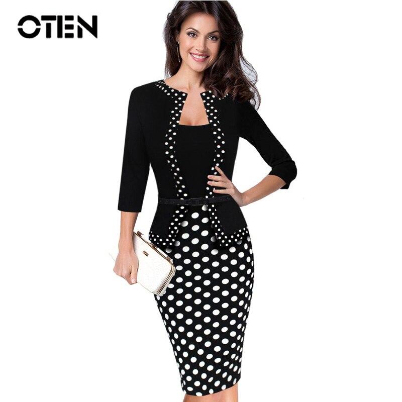 OTEN Women Retro Faux Jacket One-Piece Polka Dot Plus size Contrast Patchwork Work Wear Office Business Sheath bodycon Dress 5XL