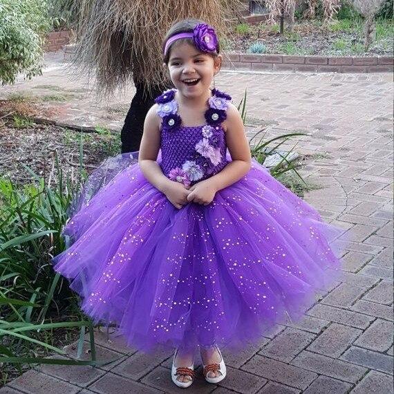 Vestido de tutú de flores purpurina púrpura para niñas, vestidos de tul de ganchillo, vestido de baile con diadema para niños, vestido de fiesta de boda