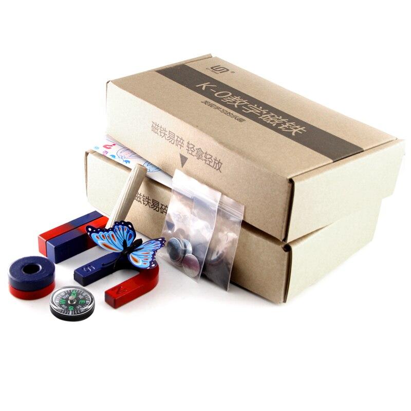 2 set isotrópica de ferrita set de imanes para la Educación la Ciencia experimento BAR + herradura + anillo imanes para enseñar los niños juguete