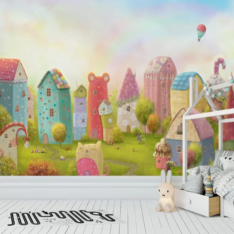 Пользовательские 3D фото обои мультфильм дом замок детская комната спальня фон настенная живопись ребенка принцесса Декор для комнаты роспись