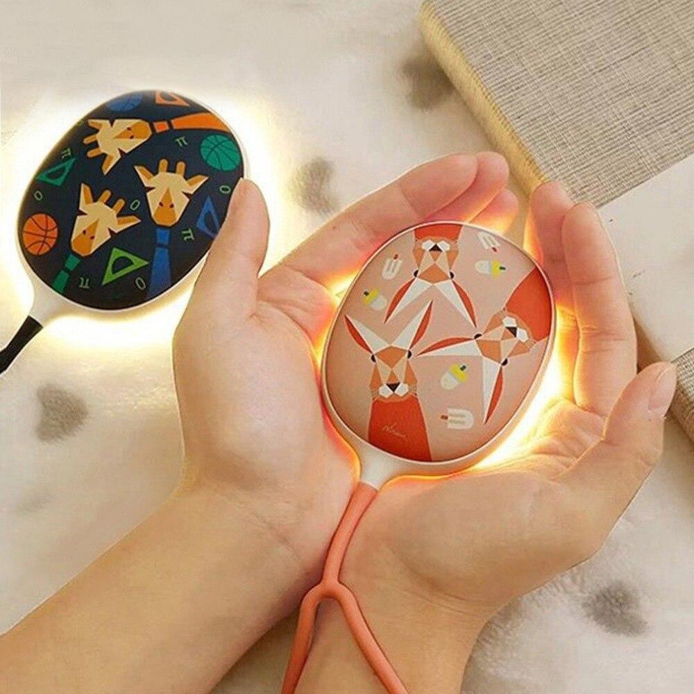2 In 1 Tragbare Hand Wärmer Mit LED Beleuchtung, Mini USB Aufladbare Outdoor Party Hand Heizung Winter Erwärmung Gerät