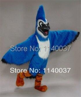 La mascota de pelo largo azul Jay mascota traje con casco tamaño adulto aves Mascote traje de fiesta Cosply disfraces