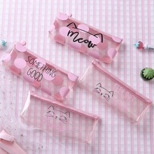 1 Pcs Kawaii Etui Dot kat Plastic Gift Estuches School Potlood Doos Pencilcase Potlood Tas Schoolbenodigdheden Briefpapier