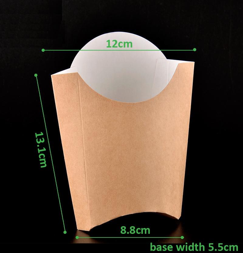 100pcs/lot-13.5*11.5*13cm Disposable kraft French fries box Chicken rice flower Snack storage boxes DIY baking packing box