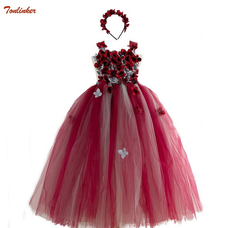 flower girls pageant dress kids wedding dresses for girl vestidos 2020 children lace white princess robe kid party evening gown Girls Dress Children Flower Wedding Evening Party Pageant Long Princess Dresses Gown Kids Carnival Fancy Formal Clothing