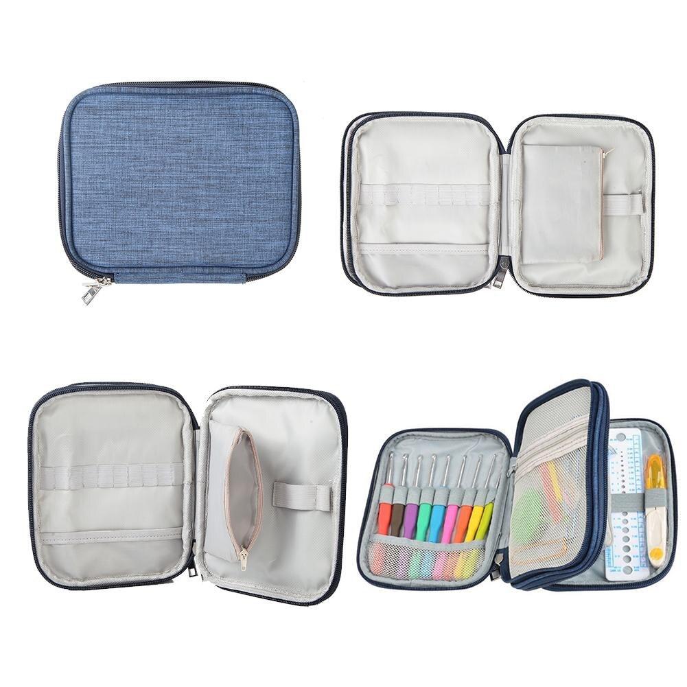 Denim Blue Double-layer Crochet Hook Case Storage Bag Organizer Zipper Bag Without Crochet Hook Accessories