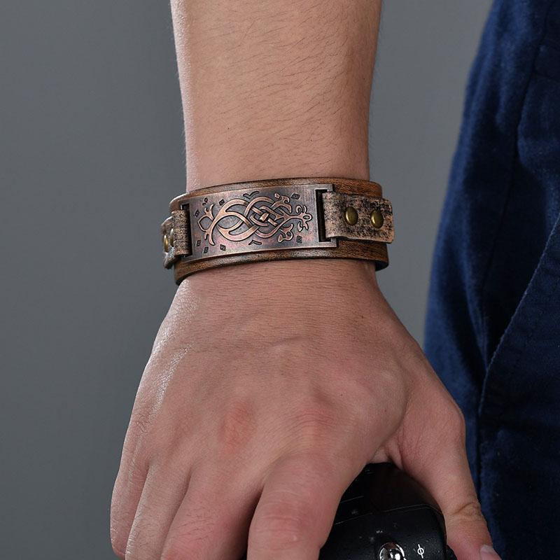 AliExpress - Vintage Steampunk Leather Bracelet Men Genuine Leather Wrap Bracelets Bangles for Men Punk Style Mens Bracelets Accessories 2019