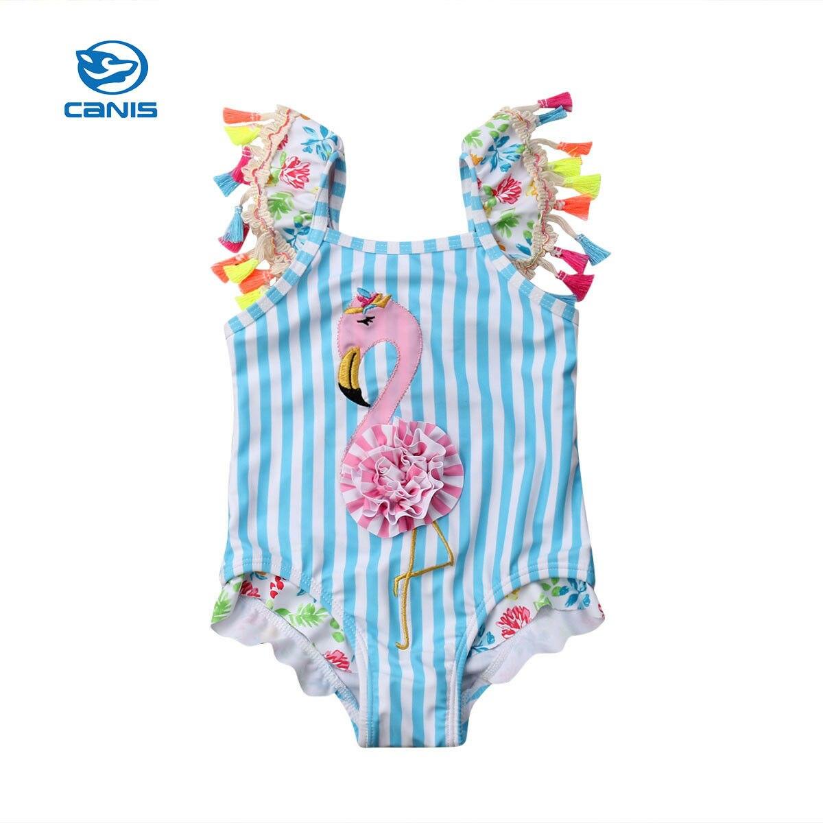 Nuevo traje de baño para niños pequeños, conjunto de Bikini de borlas de una pieza con tira de flamenco, traje de baño, Monokini de playa