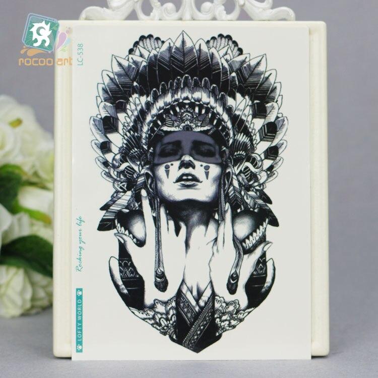 LC-538/21*15 cm Tattoo Sticker grande para mujer cubierta de pluma de bruja de estilo indio diseño de color temporal sensacional tatuaje pegatinas Taty