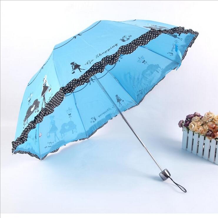 Super Anti-uv Sun Protect Umbrella Piano Girl  3 Folding Parasols Rain Umbrellas