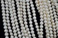 wholesale 6 7mm white genuine fresh water pearl strands