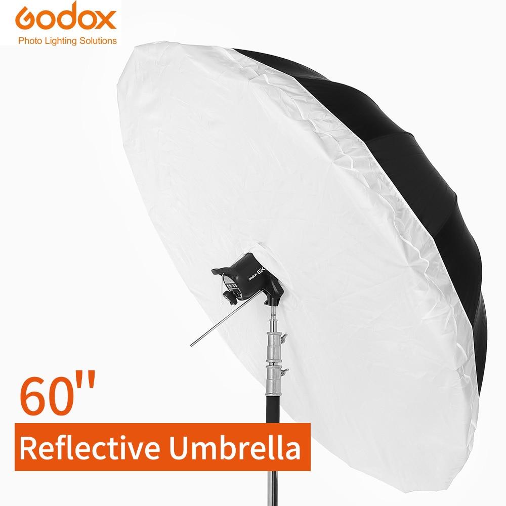"Estudio Godox Photogrphy paraguas 60 ""150cm negro de plata paraguas reflectante + gran difusor para estudio de rodaje"