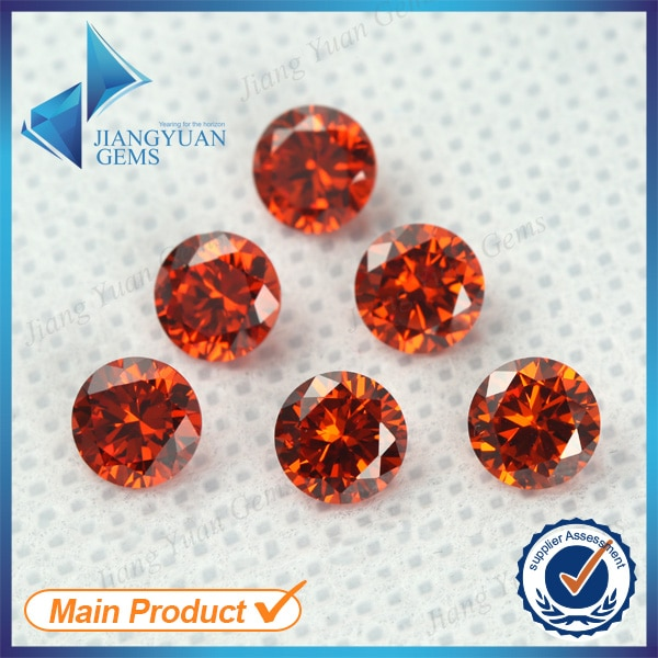 50 Uds 5A 0,8-16mm Color naranja circonita cúbica suelta CZ piedra redonda máquina de corte europea piedra preciosa sintética
