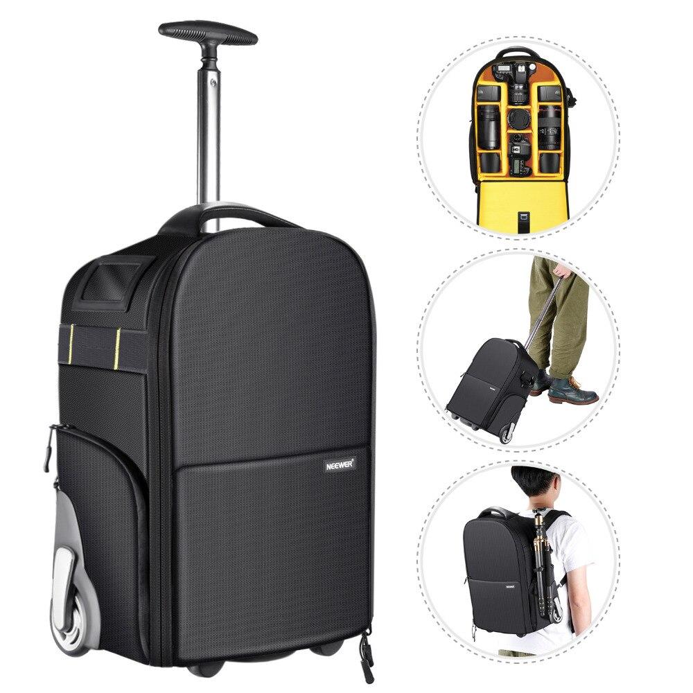 Nuevo 2-en-1 ruedas Cámara mochila de equipaje Trolley caso Anti-shock desmontable acolchado compartimento oculto Pull Bar y correa